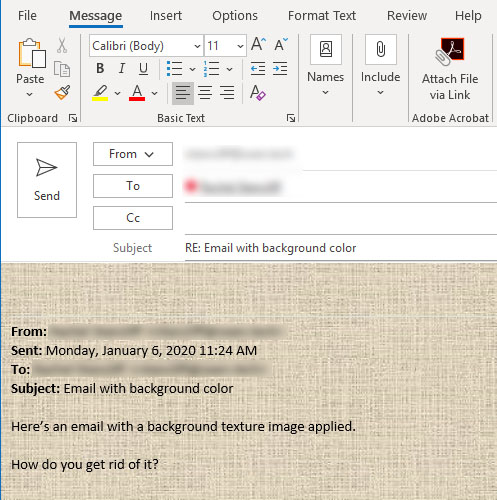 Email background or texture in Outlook