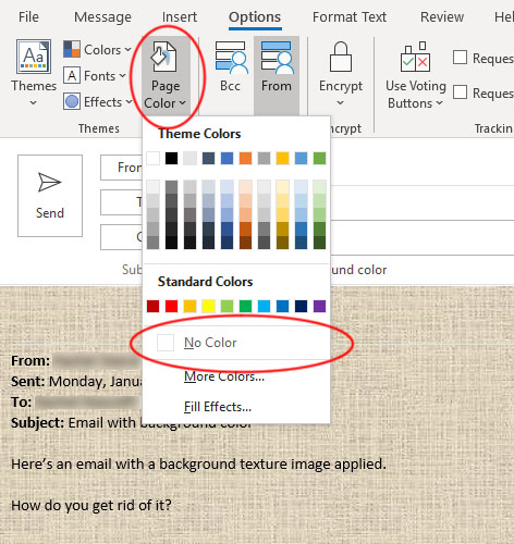 Remove email background color in Outlook