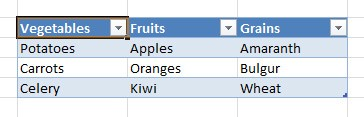 Image: Select a cell in the Excel table