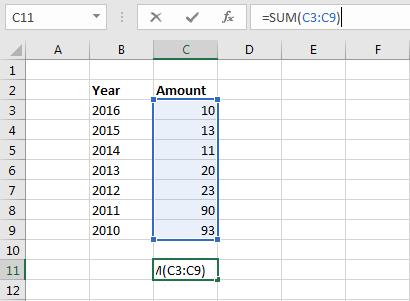 Excel Formulas: SUM