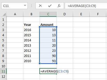 Excel Formulas: AVERAGE