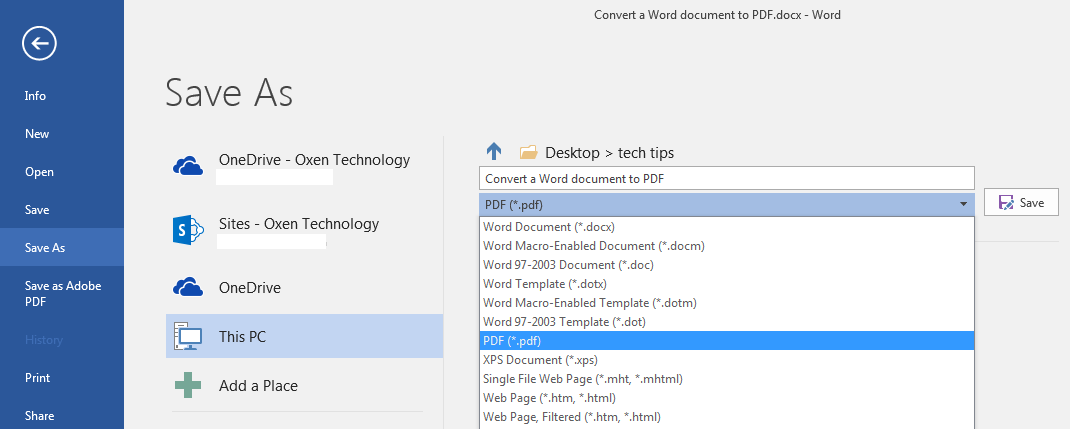 3 Ways To Convert A Word Document To A Pdf Oxen Technology