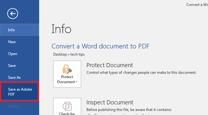 Save as Adobe PDF in Word