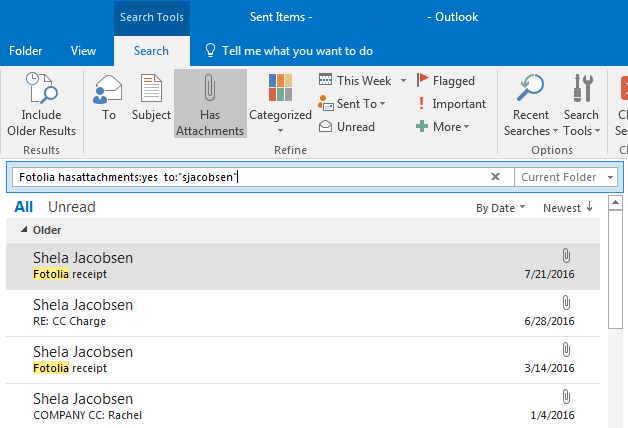 Searching Your Email In Outlook 2016