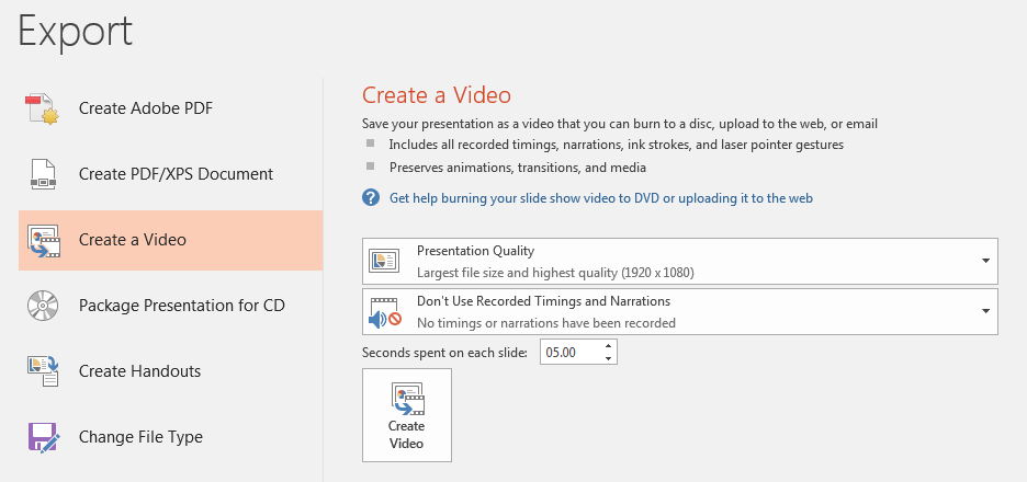 Create a video from PowerPoint slides