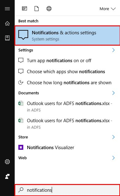 Find Windows 10 notifications from Start Menu