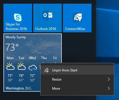 Unpin apps from Windows 10 Start menu