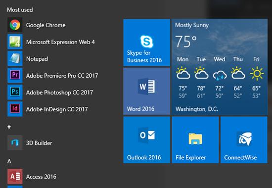 Rearranged Windows 10 Start menu