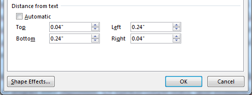 Text boxes in Publisher: Distance from text
