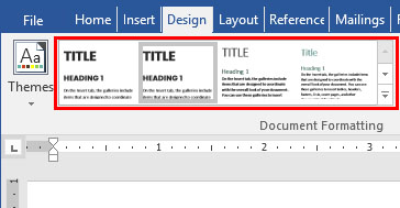 Word Style sets in the Document Formatting group