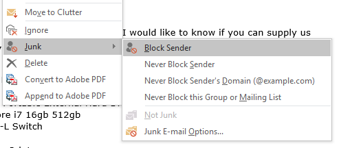 Mark email as spam and block senders to get junk out of your inbox