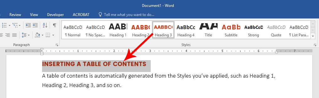 Apply Styles to your document from the Home tab in Microsoft Word