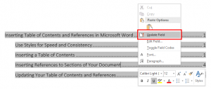 Updating a Table of Contents in Word by right-clicking