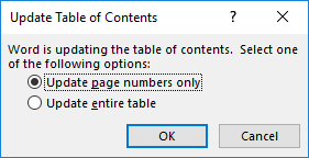 Update table of contents in Microsoft Word