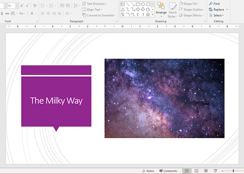 Aligning objects in PowerPoint: Correctly aligned to the middle of the slide