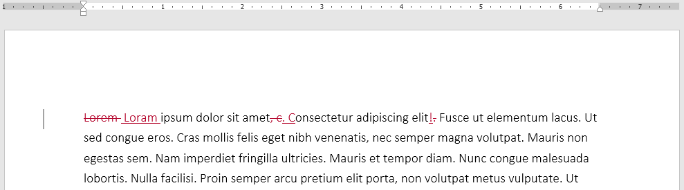 Markup in a Word Document after Track Changes is turned on