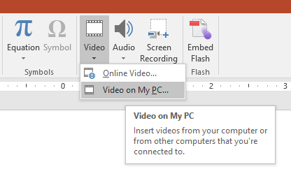 Inserting a video in PowerPoint