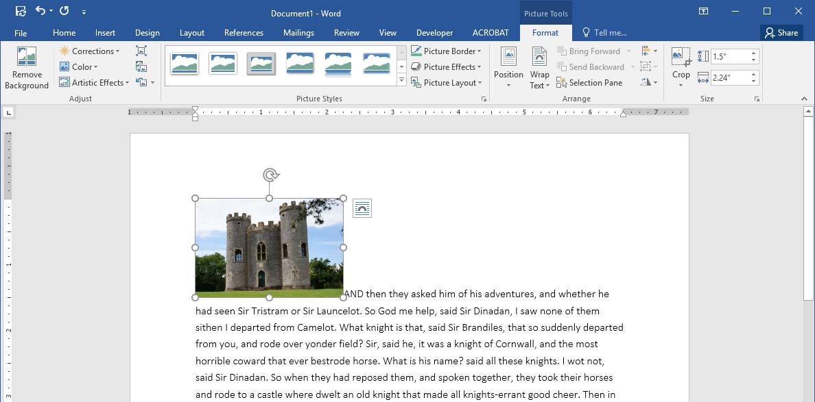 An example of an inline image in Word.