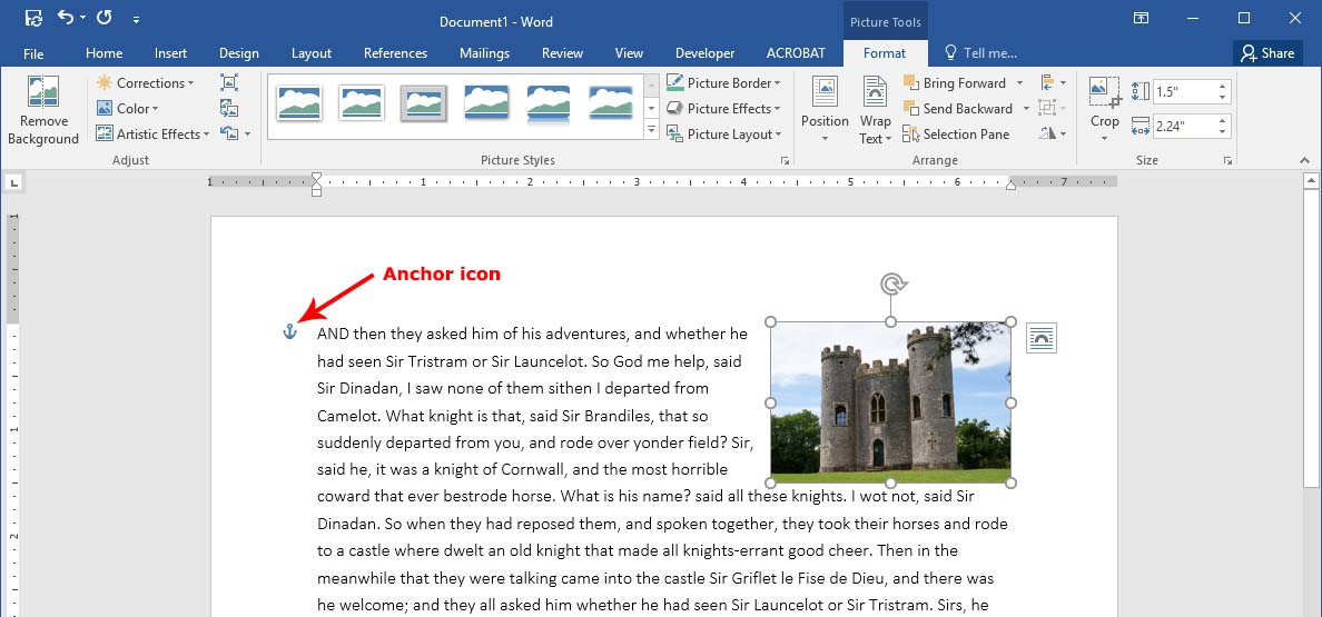 An example of a floating image in Word with the anchor icon showing