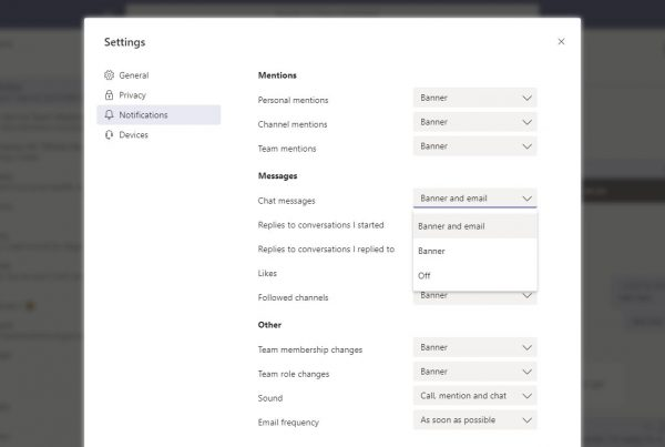 Microsoft Teams notifications settings