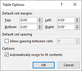 Editing table cell margins