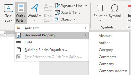 Inserting Word Document Property Fields
