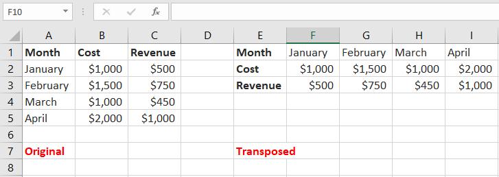 Tranposing Rows & Columns in Excel