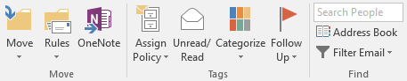 Categorize options on the Outlook Ribbon