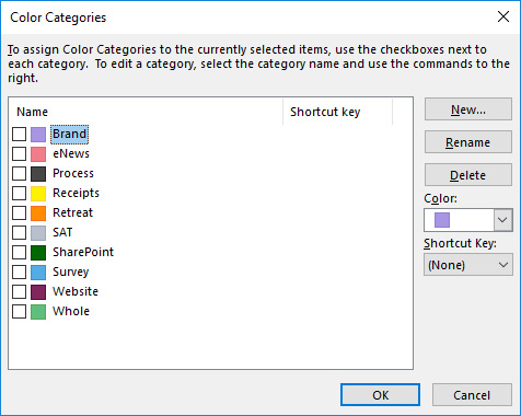 Creating or Renaming Color Categories in Outlook