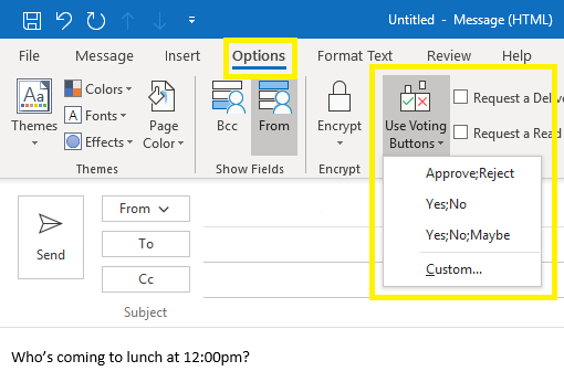 Voting Options in Outlook