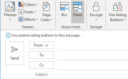 Voting buttons added to an email