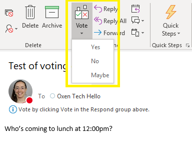 How to vote when you respond to an email