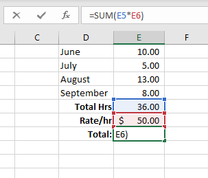 Multiplying numbers in Excel