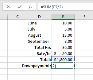 Basic math in Excel - Division