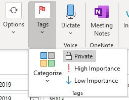 Making appointments private in Outlook calendar