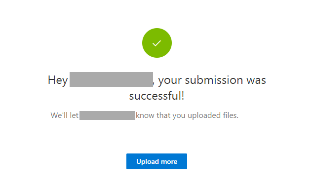 Successfully uploaded a file to a file request folder in OneDrive
