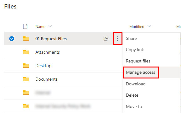 Manage access to a file request folder in OneDrive