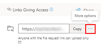 Remote a file request link in OneDrive