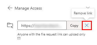Remove a file request link in OneDrive