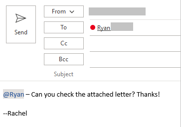 Using mentions in Outlook email